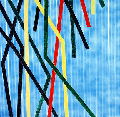 Stripes 100 x 100 Öl und Kunstharz auf Leinwand