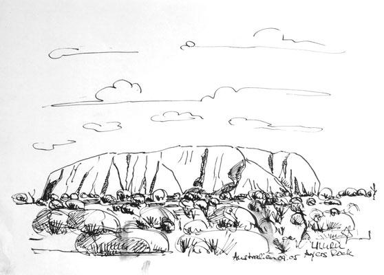 Uluri, Australien, Tusch auf Papier, 40 x 30 cm