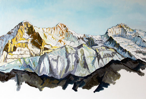 Eiger Mönch Jungfrau 70 x 50 cm Öl auf Leinwand (verkauft)