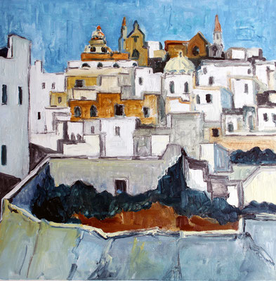 Ostuni Apulien Italien , 40 x 40 Öl auf Leinwand