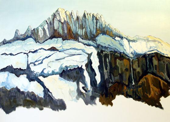 Gspaltenhorn im Winter vom Kiental aus 100 x 70 cm Öl auf Leinwand