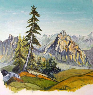 Blick von der Rigi zu den Mythen 80 x 80 cm Öl auf Leinwand
