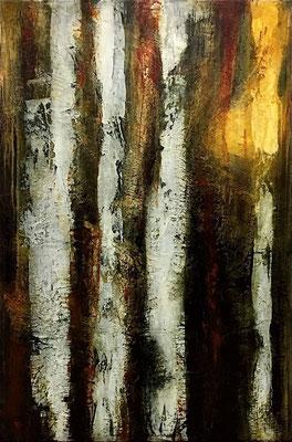 Bois Bouleaux 1, huile sur toile - 50 x 73 cm
