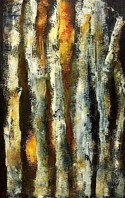 Bois Bouleaux 2, huile sur toile - 54 x 81 cm