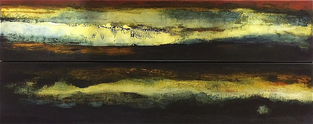 Nocturnes, huile sur toile - (x2) 100 x 20 cm