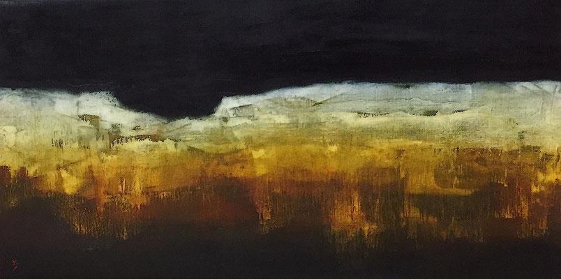 La brèche, huile sur toile - 80 x 40 cm