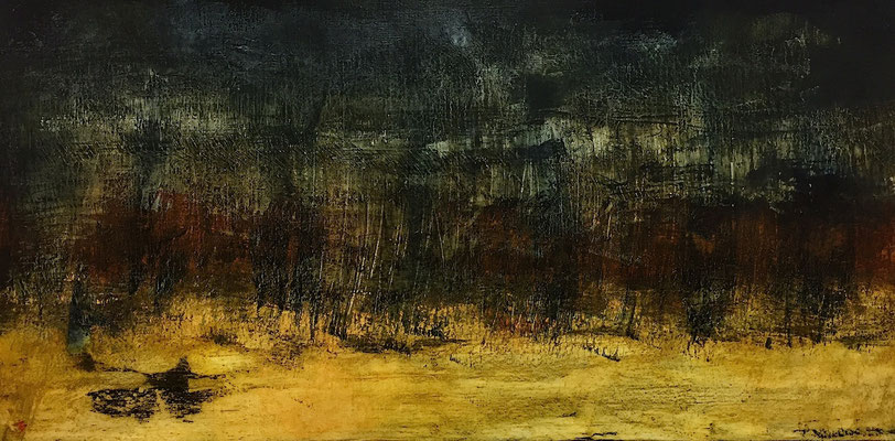 Anochecer, huile sur toile - 80 x 40 cm