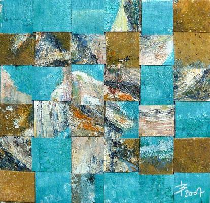 © Agnès Bressler - Tissage Bleu (10x10) sous verre (20x20)