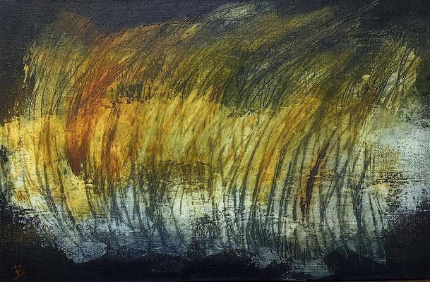 Blés couchants (huile sur toile - 27 x 41 cm)