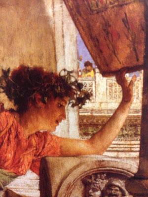 ローレンス・アルマ=タデマ《バッカス神の巫女「彼がいるわ!」》絵の一部分