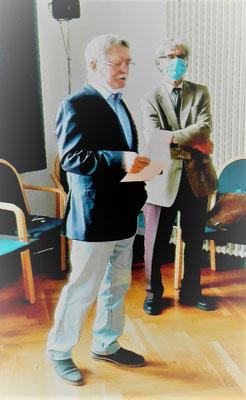 Dipl.- Ing. Konrad Eulitz vom Sprecherteam der IG Luftfahrt Dresden (l.) mit Dipl.-Ing. Manfred Peetz von der IG Luftfahrt