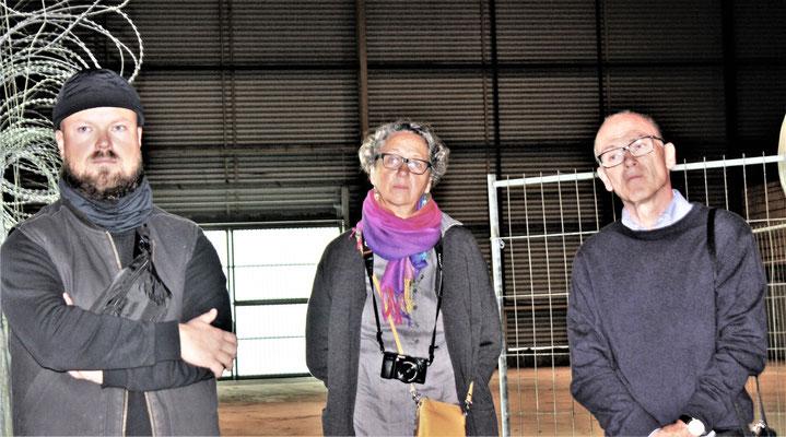 Die Gastgeber Dr. Petra Westphalen und Ulrich Ostermaier neben Henry Kerinnes (l.) vom Verkehrsmuseum Dresden