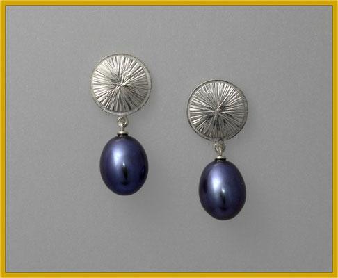 Silber-Ohrhänger mit blauen Süsswasserperl-Tropfen