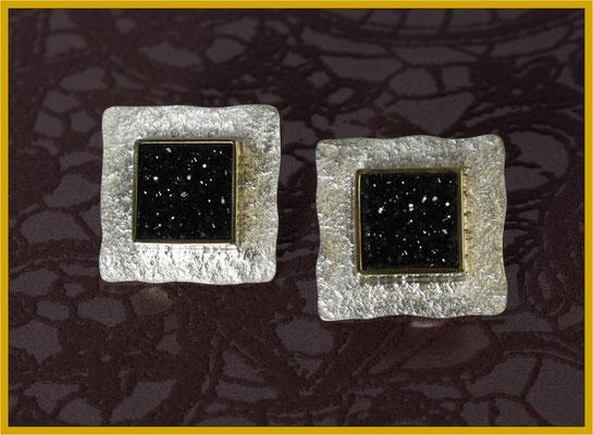 Ohrstecker aus Silber und Gelbgold mit glitzernden Achat-Kristallen