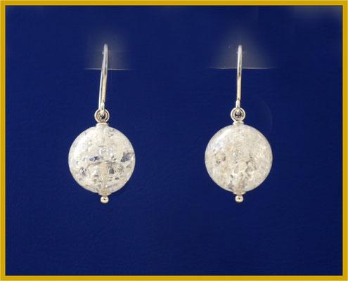Silberne Ohrhänger mit Bergkristall-Kugeln
