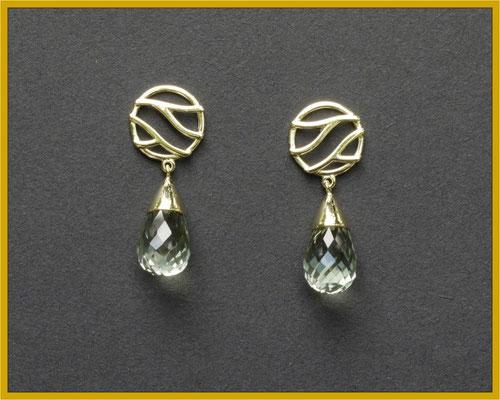 Gold-Ohrhänger mit Prasiolith-Pampeln