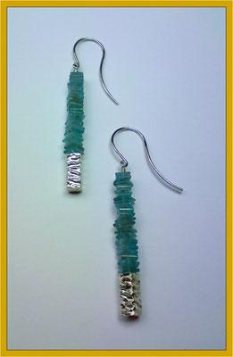 Silber-Ohrhänger mit Apatit-Scheiben