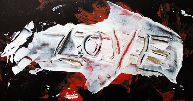 "Love | 2013 | Mixed media on carton | 12.5 x 23.5 cm | 4.9""x9.3"""