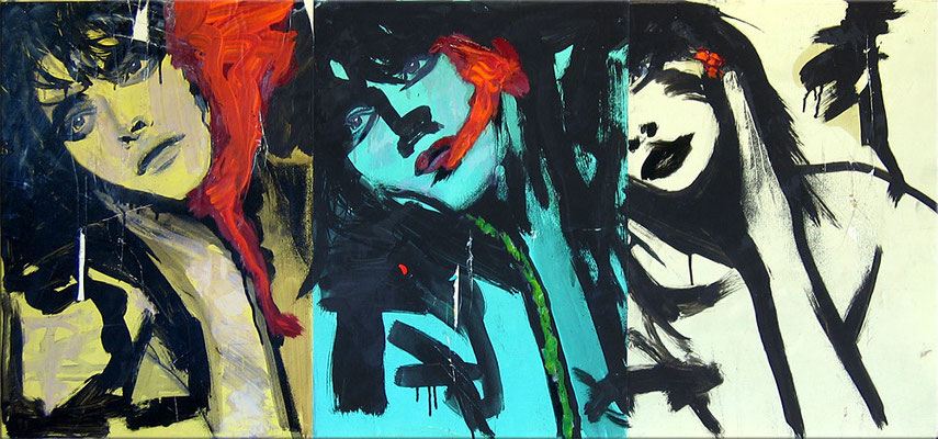 "Je t'aime | 2006 | Acrylic and paper on cardboard | 40x100cm | 15.7""x39.4"" •"