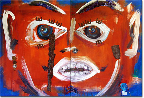 "Punk it! | 2006 | Acrylic, plastic, metal and rust on canvas | Diptych, 100x70cm | 39.4""x27.6"""