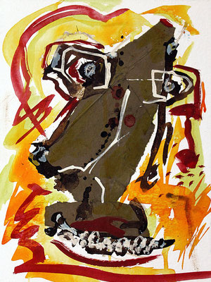 "Buddy | 2013 | Mixed media on heavy watercolour paper | 40x30cm | 15.7""x11.8"""