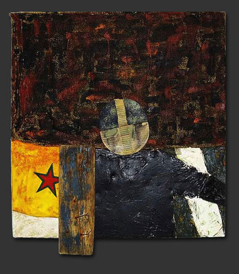 "In the streets of... | 2003 | Acrylic, pigment, fabric, card-board, burlap, wood and metal on wood | 142x120cm | 55.9""x47.2"" •"