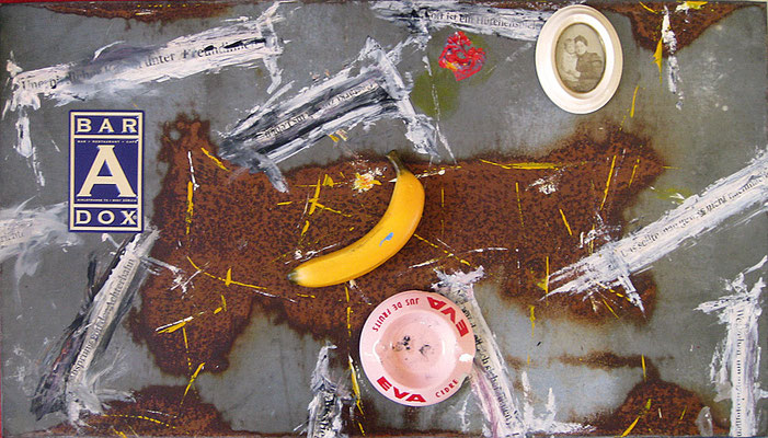"Banana Islands | Assemblage on metal | 54.5x97cm | 21.5""x38.2"""