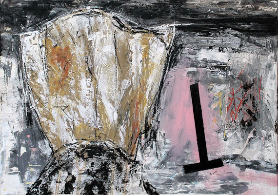 "T | 2014 | Mixed media on canvas | 50x70cm | 19.7""x27.6"""