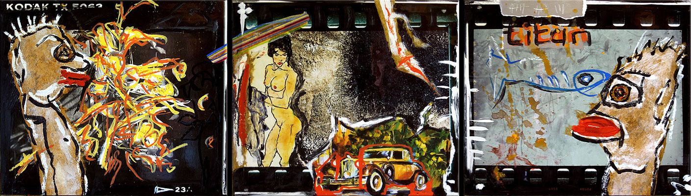 "Baby, you can drive my car | 2008 | Acrylic, collage and photographs on wood | Triptych, 124x35.5cm | 48.8""x14"" •"