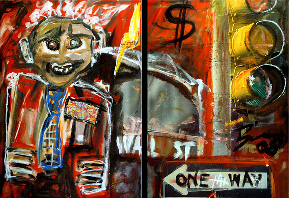 "Wall street | 2008 | Acrylic and collage on canvas | Diptych, 70x100cm | 27.6""x39.4"" •"