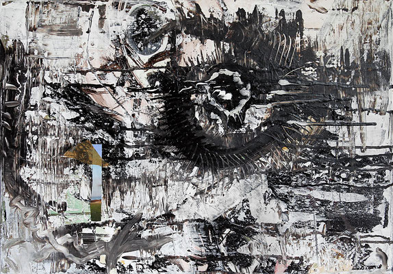 "Eye of the storm | 2013 | Mixed media on canvas | 50x70cm | 19.7""x27.6"""