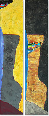 "Gaza | 2014 | Mixed media on canvas | Diptych, 100x45cm | 39.4""x17.7"""