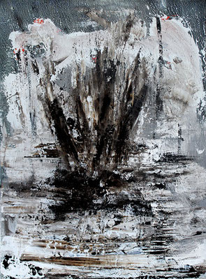 "Eruption | 2015 | Bitumen and acrylic on canvas | 80 x 60 cm | 31.5""x23.6"""