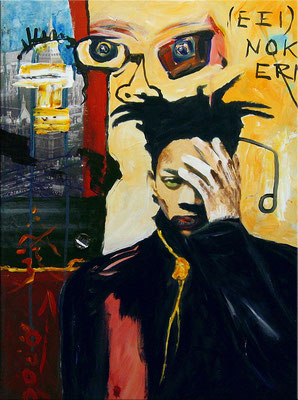 "SAMO – Same old shit | Portrait of Jean-Michel Basquiat | 2008 | Acrylic and collage on canvas | Private collection of Bernard Bieling | 70x50cm | 27.6""x19.7"" •"