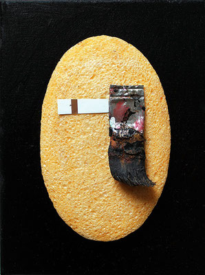 "Eye of the painter | Assemblage on canvas | 24x18cm | 9.4""x7.1"""