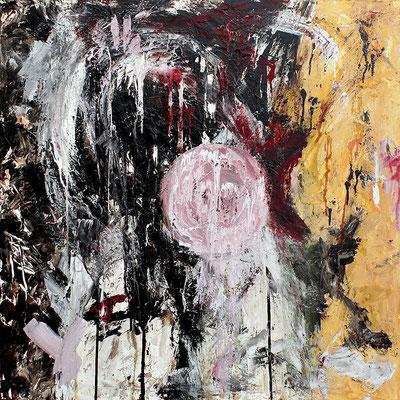 "Furioso (Übermalter Akt) | 2014 | Mixed media on canvas | 100x100cm | 39.3""x39.4"""