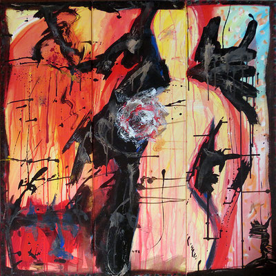 "Femme brisée | 2013 | Mixed media on canvas | Triptych, 90x90cm | 35.4""x35.4"""