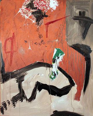 "The big orange | 2014 | Mixed media on canvas | 100x80cm | 39.4""x31.5""x1.6"""