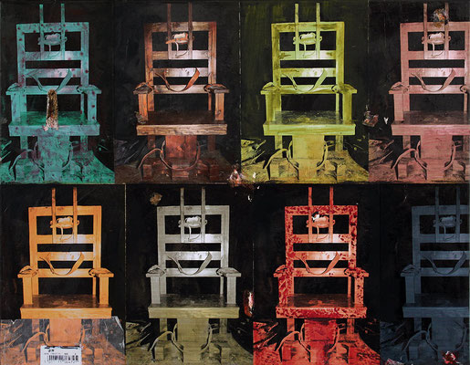 "Chairs (Homage to Andy Warhol) | 2013 | Mixed media on canvas | 50x60cm | 19.7""x23.6"""