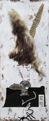 "This is not a rabbit | Assemblage. Mixed media on cardboard | 42x19.2x3.2cm | 16.5""x7.6""x1.3"" 