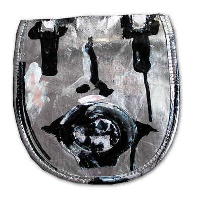 "Sad | 2014 | Mixed media on silver leather imitation | 19x17.5cm | 7.5""x6.9"""