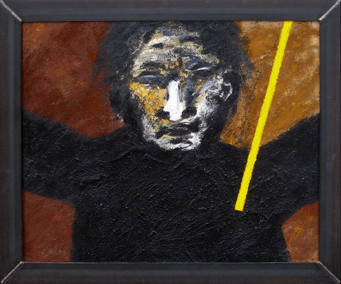 "Fluch / Curse | 1994 | Acrylic, pigment and sand on plastic board, mounted on wood, metal framed | 76x91cm, framed | 29.9""x35.8"", framed"