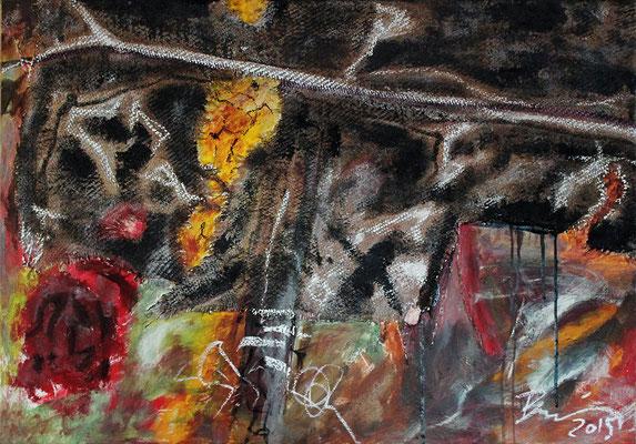"TOPIA | 2015 | Mixed media on canvas | 70 x 100 cm | 27.6""x39.4"""