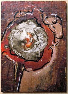 "Copper flower | Mixed media on cardboard | 21 x 14.8 cm | 8.3""x5.8"""