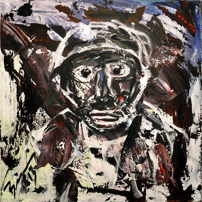 "The fisherman | 2013 | Acrliy on canvas | 60x60cm | 23.6""x23.6"""