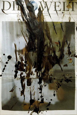 "Die Welt des Gerhard Richter (The world of Gerhard Richter) | Bitumen on newspaper | 42x25cm | 16.5""x9.8"" 