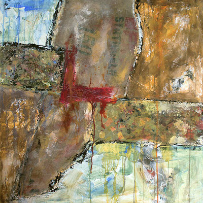"Statiegeld | 2014 | Mixed media on canvas | 100x100cm | 39.4""x39.4"""