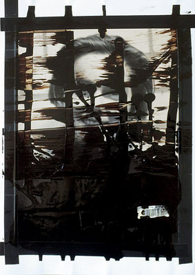 "Involved | Bitumen, collage and tape on photograph | 29.7x21cm |11.7""x8.3"" 