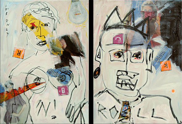 "It's only Rock'n'Roll | 2009 | Acrylic, oil paint stick and collage on canvas | Diptych, 70x105cm | 27.6""x41.3"" •"