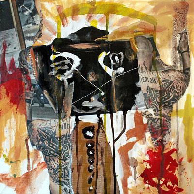 "Ignorance | 2013 | Mixed media on canvas | 40x40cm | 15.7""x15.7"""